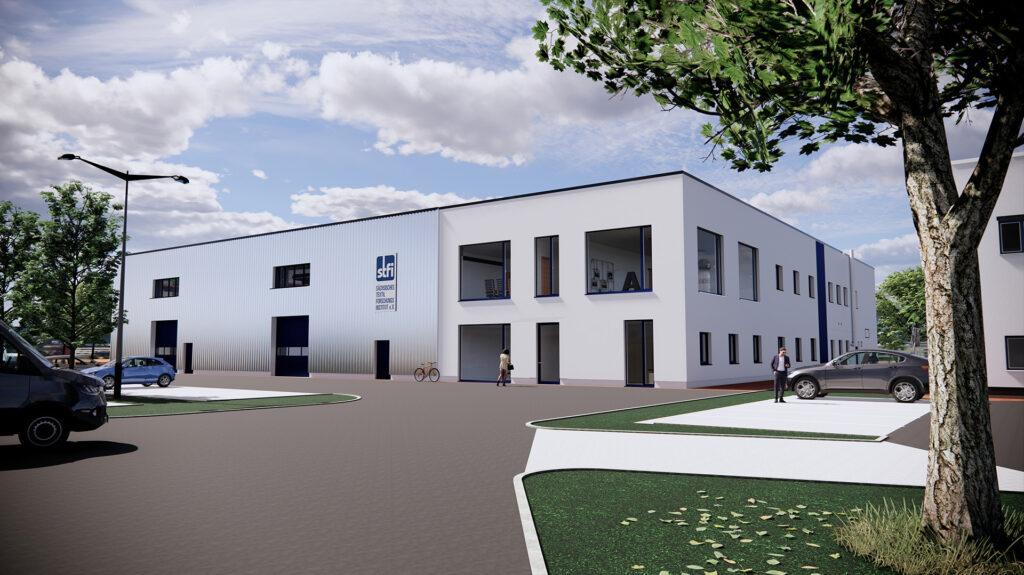 """3D-Skizze des neuen Gebäudes """"Zentrum für Nachhaltigkeit"""" (Foto: © STFI/ait Plan GmbH)"""